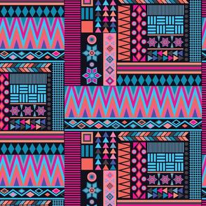 Aztec Clash Black & Pink