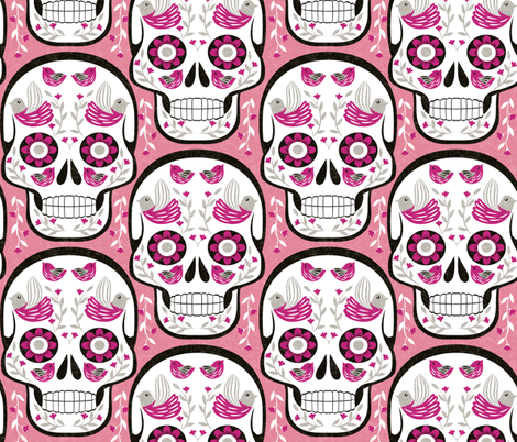 sugarskull-pink fabric by gaiamarfurt on Spoonflower - custom fabric