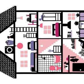 Dollhouse Yard Linen Cotton Canvas (pink/purple)