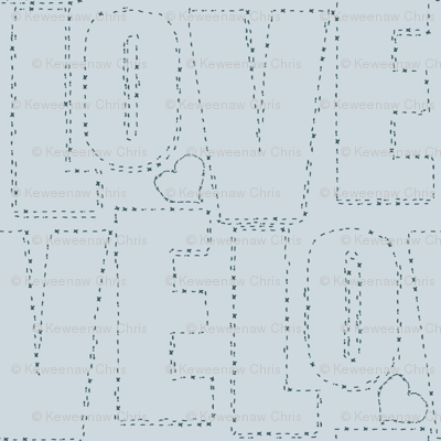 embroidered love gray