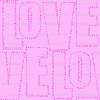 embroidered love pink