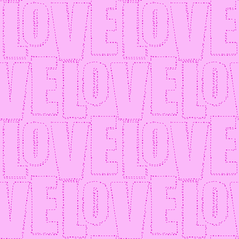 embroidered love pink fabric by keweenawchris on Spoonflower - custom fabric