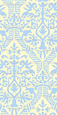 crowning damask stencil yellow