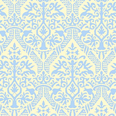 crowning damask stencil yellow fabric by keweenawchris on Spoonflower - custom fabric