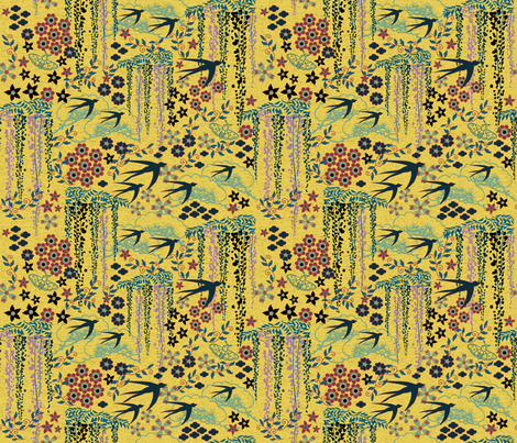 Japanese Garden Mustard fabric by vinpauld on Spoonflower - custom fabric