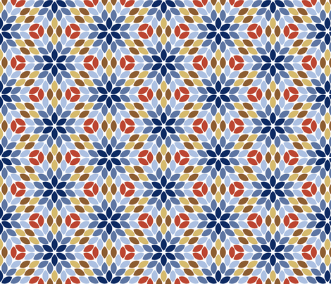 05710281 : R6R lens 4 : blue petals brown seeds fabric by sef on Spoonflower - custom fabric