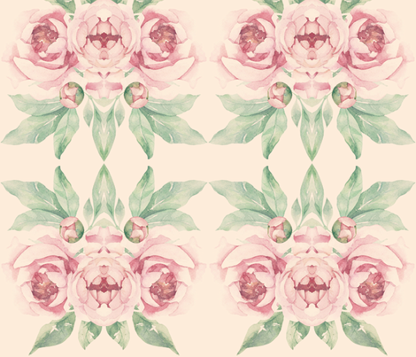 Peonies on Cream fabric by pricedesigns on Spoonflower - custom fabric