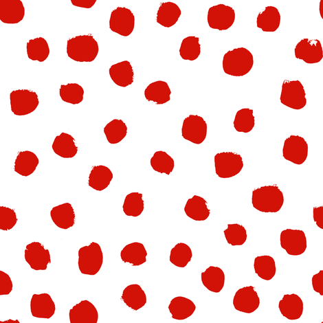 christmas dots red and white dots painted dots dot xmas holiday simple holiday red dot design fabric by charlottewinter on Spoonflower - custom fabric