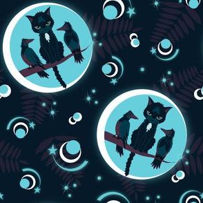 moonlight cat and ravens