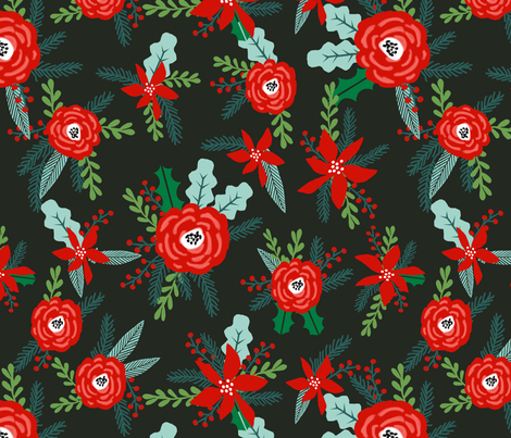 christmas floral florals poinsettias christmas posy red and green christmas fabric fir tree fabric by charlottewinter on Spoonflower - custom fabric