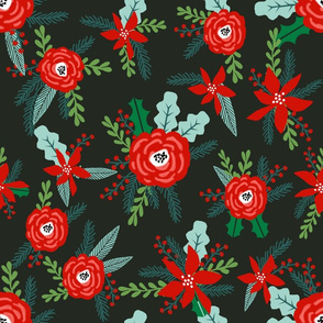 christmas floral florals poinsettias christmas posy red and green christmas fabric fir tree