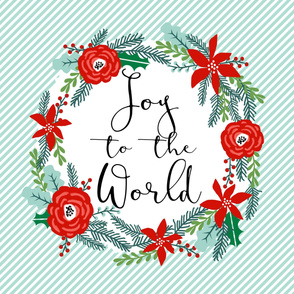 "joy to the world holiday xmas christmas fabric - fits 1 yard of 42"" wide fabric"