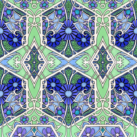 Geometric Garden Blues (and greens) fabric by edsel2084 on Spoonflower - custom fabric