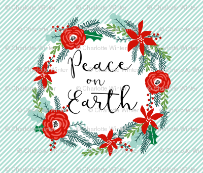 """peace on earth christmas fabric panel - fits one yard of 42"""" wide fabric"""