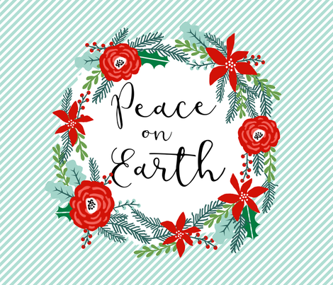 """peace on earth christmas fabric panel - fits one yard of 42"""" wide fabric fabric by charlottewinter on Spoonflower - custom fabric"""