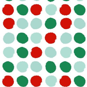 red and green dots jumbo christmas dots fabric  holiday coordinates