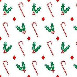 candy canes and holly basic christmas design xmas holiday christmas fabrics