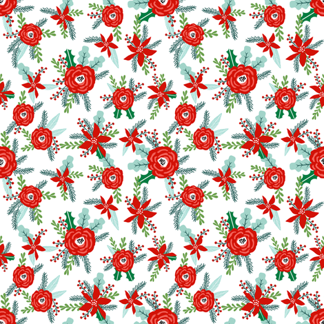 christmas florals red posy peonies poinsettias christmas flowers holiday floral xmas flowers fabric by charlottewinter on Spoonflower - custom fabric