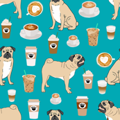 pugs coffee fabric cute turquoise fabric print dog fabrics coffees fabric coffee dog cute pugs