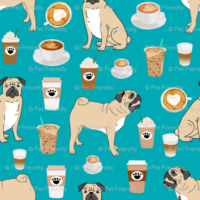 pugs coffee fabric cute turquoise fabric print dog fabrics coffees fabric coffee dog cute pugs