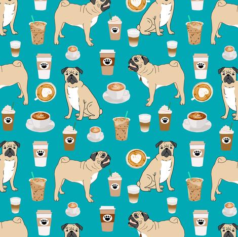 pugs coffee fabric cute turquoise fabric print dog fabrics coffees fabric coffee dog cute pugs fabric by petfriendly on Spoonflower - custom fabric