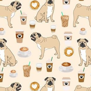 pugs and coffee fabric cute coffee latte fabric pug dog fabric cute pet lovers fabric