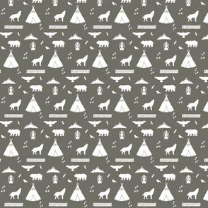 Aztec Tee Pee Collage in Grey