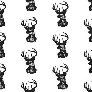Wild and Free Deer Head in Black