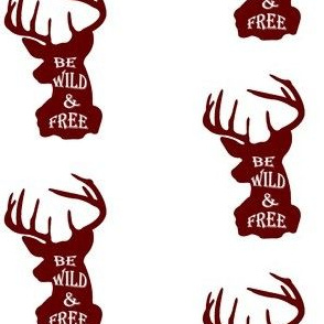 Be Wild and Free Deer Head in Red