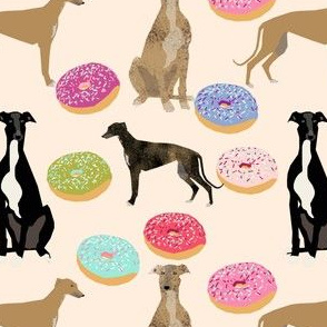greyhound dogs donut fabrics cute dog design rescue dogs best donuts fabric