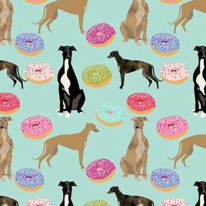 greyhounds dog fabric  donuts doughnuts fabric cute dog breed fabric pink mint pastels cute doughnuts