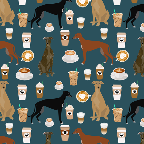 greyhound fabrics cute coffee fabric best coffee fabric latte fabrics cute coffee latte greyhounds fabric print fabric by petfriendly on Spoonflower - custom fabric