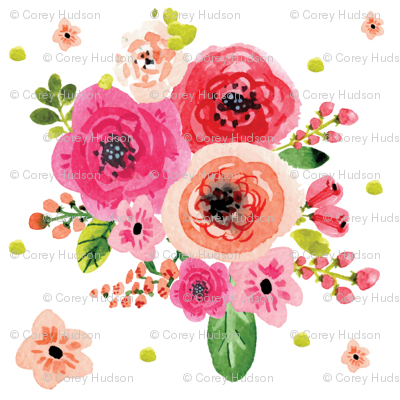 Watercolor Pink Flowers with Extras