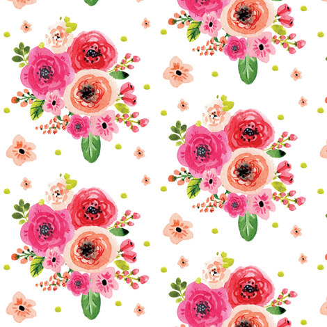Watercolor Pink Flowers with Extras fabric by hudsondesigncompany on Spoonflower - custom fabric