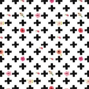Black Modern Cross with Flowers