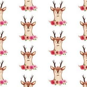 Cute Deer with Flowers