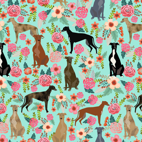 greyhounds florals fabric cute mint vintage les fleurs fabric cute dogs dog rescue greyhounds fabric best greyhounds fabric by petfriendly on Spoonflower - custom fabric