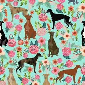 greyhounds florals fabric cute mint vintage les fleurs fabric cute dogs dog rescue greyhounds fabric best greyhounds