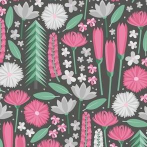Mt. Rainier Wildflowers (Pink and Mint Dark)