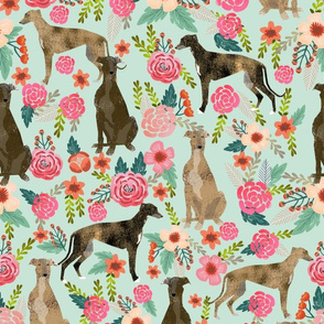 brindle cute greyhound fabric mint florals flowers cute fabric best dog fabric florals cute brindle fabric