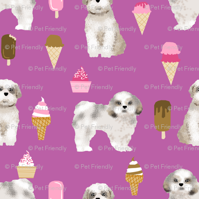Shih Tzu Purple Ice Cream Fabrics Cute Purple Dog Design