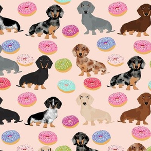 doxie dachshund dog donuts dachshunds dog pink cute food fabrics dog fabric cute dogs dachshunds fabric