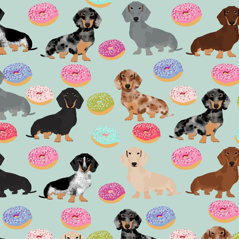 doxie dachshunds dog donuts doughnuts cute dog fabric best doxies dog fabric cute doxie dogs fabric by petfriendly on Spoonflower - custom fabric
