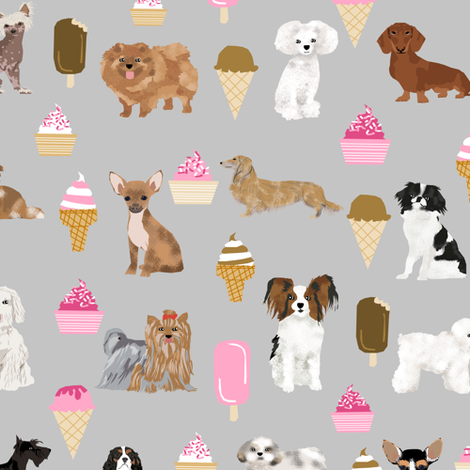 dogs ice cream fabric cute dogs fabric ice creams dogs dog cute dog fabric fabric by petfriendly on Spoonflower - custom fabric
