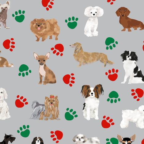 Christmas Paws Dog Fabric Cute Dog Design Best Dogs Fabric Cute