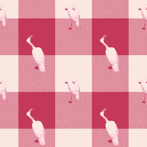 Windswept and Arabesque Gingham Flamingo Flannel  fabric by peacoquettedesigns on Spoonflower - custom fabric