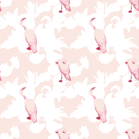 Mid Cenutry Moden Floral ~ Simple Pleasures with Flamingos ~ Arabesque and White  fabric by peacoquettedesigns on Spoonflower - custom fabric