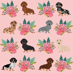 doxie florals floral wreath cute dog design dachshunds doxie fabric cute dogs fabric pink