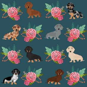 doxie dog fabric florals fabric cute dogs floral flowers navy cute dogs fabric best dogs