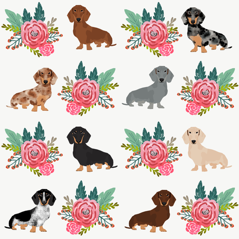 doxie dog cute dachshunds florals floral wreath cute dogs dog fabric cute dogs fabric by petfriendly on Spoonflower - custom fabric